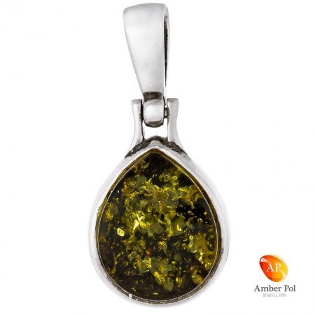 Piękny wisiorek ze srebra próby 925 z bursztynem w zielonym kolorze o kształcie łezki,