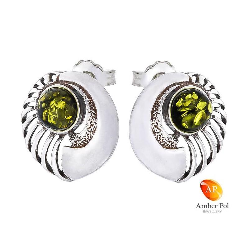 Piękne kolczyki srebrne 925   na sztyft o fantazyjnym okrągłym kształcie z zielonym bursztynem.