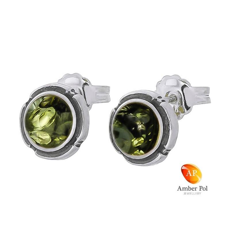 Piękne srebrne 925 okrągłe  kolczyki na sztyft z zielonym bursztynowym oczkiem.
