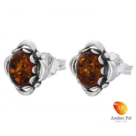 Sterling silver amber earrings