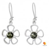 Kolczyki wiszące o kształcie kwiatka z płatkami ze srebra 925 z zawieszką typu bigl zapinany i bursztynem  w kolorze zielonym.