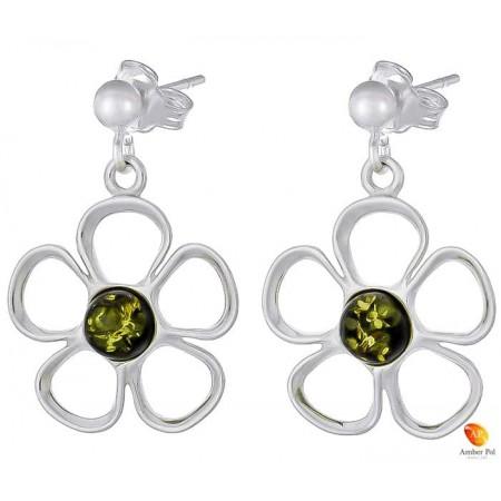 Kolczyki wiszące o kształcie kwiatka z płatkami ze srebra 925 z zawieszką na sztyft z kulką i bursztynem  w kolorze zielonym.