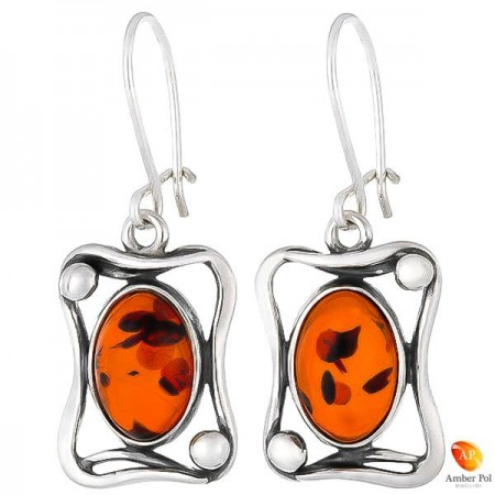 Sterling silver amber earrings