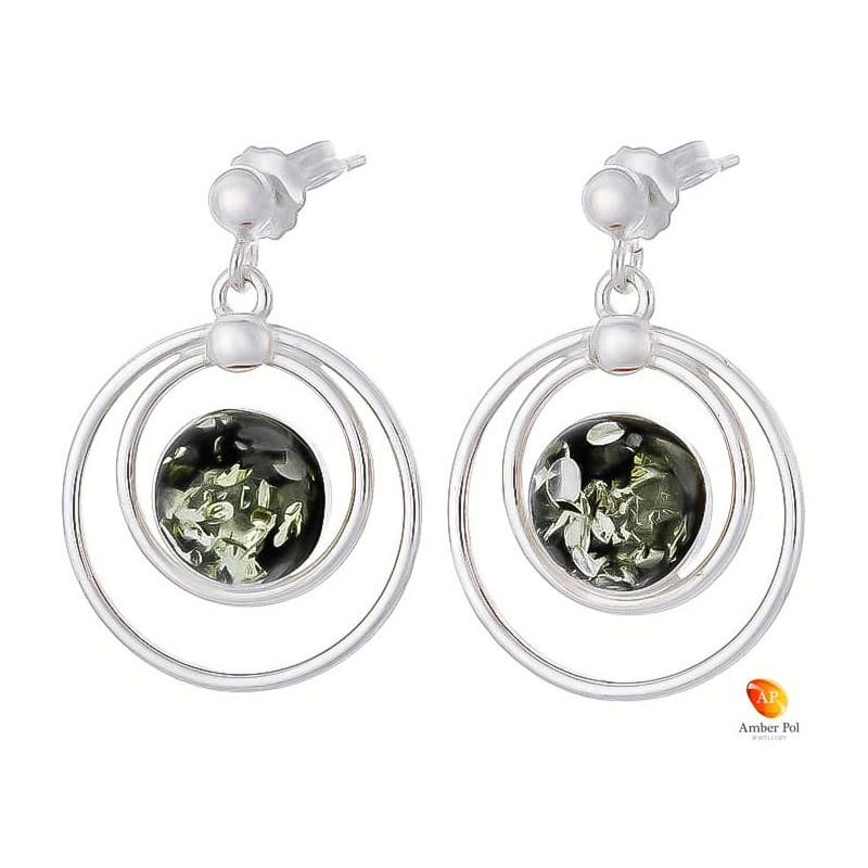 Piękne wiszące kolczyki ze srebra próby 925 na sztyft z kulką i okrągłym zielonym bursztynem.