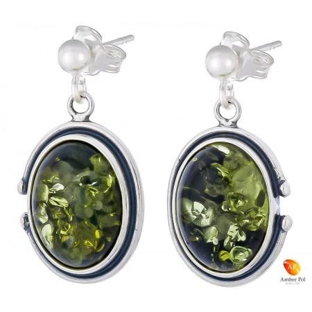 Piękne wiszące kolczyki ze srebra próby 925 na zawieszce na sztyft z kulka  i owalnym  zielonym bursztynem.