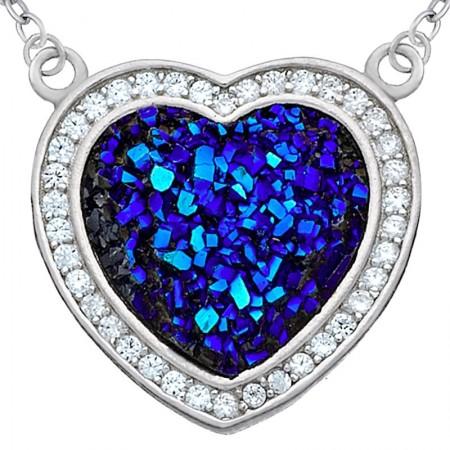 Naszyjnik srebrny w kształcie serca z granatowymi cyrkoniami w pięknym głębokim kolorze i białymi cyrkoniami.