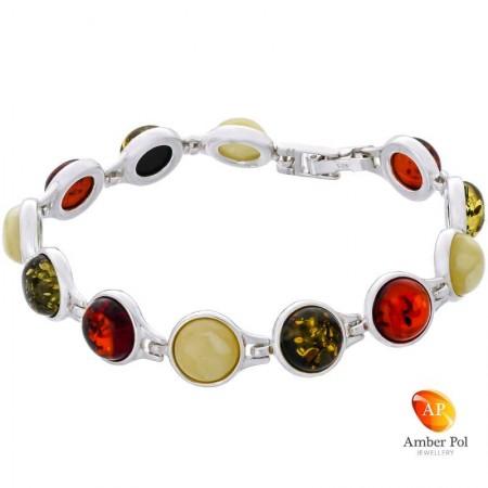 Piękna bransoletka ze srebra próby 925 składająca się z 12 elementów z okrągłymi bursztynami w kolorze mix.