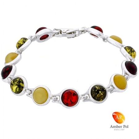 Piękna bransoletka ze srebra próby 925 składająca się z 13 elementów z okrągłymi bursztynami w kolorze mix.
