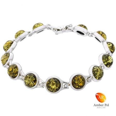 Piękna bransoletka ze srebra próby 925 składająca się z 13 elementów z okrągłymi bursztynami w kolorze zielonym.
