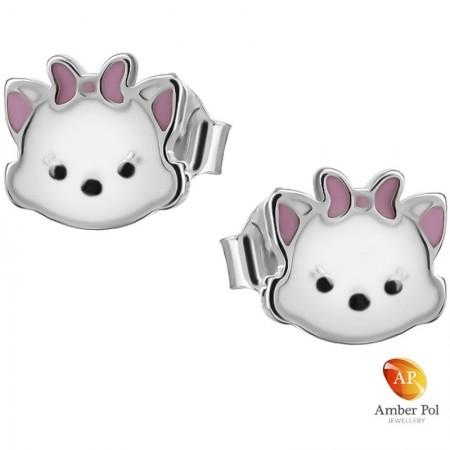 Delikatne kolczyki dziecięce różowo białe pieski z kokardką z emalią wykonane ze srebra próby 925. Amber Pol