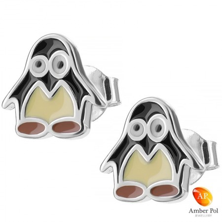 Kolczyki dziecięce pingwinki czarno żółte wykonane ze srebra 925 i emalii