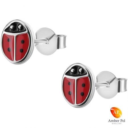 Kolczyki dziecięce biedronki czerwone z czarnymi główkami i kropkami wykonane z emalii i srebra 925