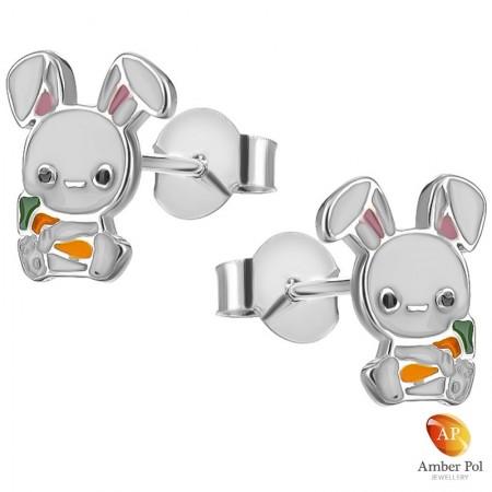 Kolczyki dziecięce króliczki białe z marchewką wykonane ze srebra 925 i emalii