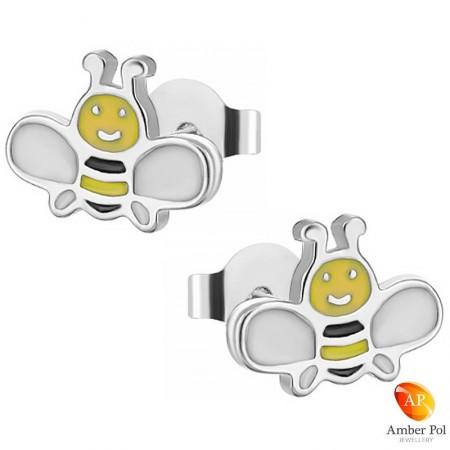 Kolczyki dziecięce żółto czarne pszczółki z białymi skrzydełkami wykonane ze srebra próby 925 i emalii