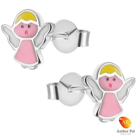 Kolczyki dziecięce różowe aniołki wykonane ze srebra 925 i emalii