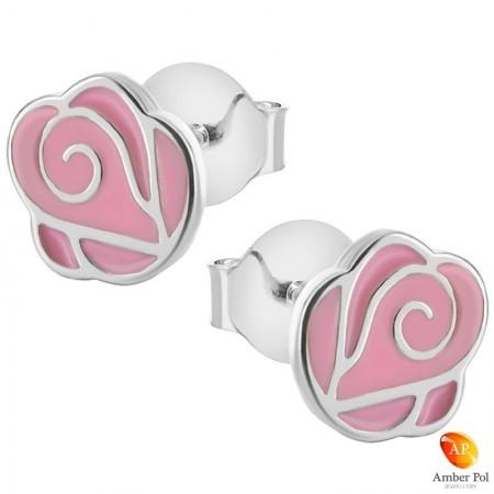 Kolczyki dziecięce różowe różyczki wykonane z emalii i srebra 925