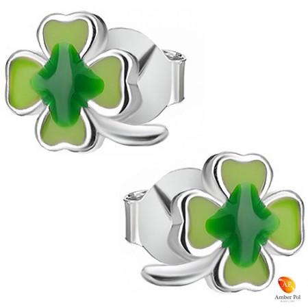 Kolczyki dziecięce zielone koniczynki wykonane ze srebra 925 oraz emalii