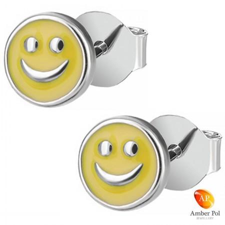 Kolczyki dziecięce sztyft uśmiechnięte buźki w kolorze żółtym wykonane z emalii oraz srebra 925