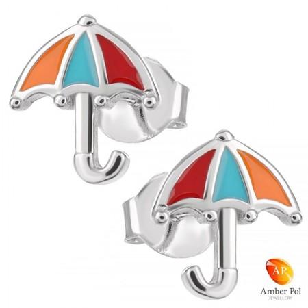 Kolczyki srebrne parasolki...