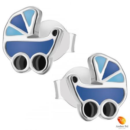 Kolczyki dziecięce niebieskie wózeczki z emalią dla dziewczynek wykonane ze srebra 925