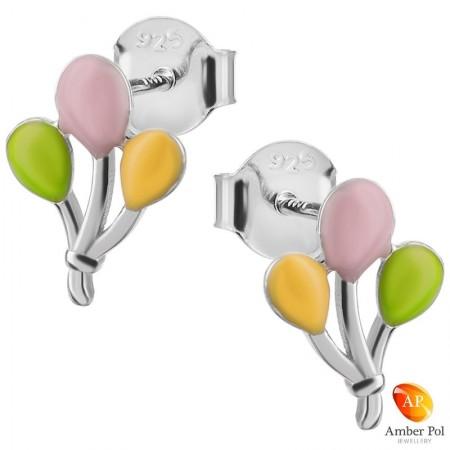 Kolczyki dziecięce kolorowe baloniki dla dziewczynek wykonane ze srebra 925 oraz emalii