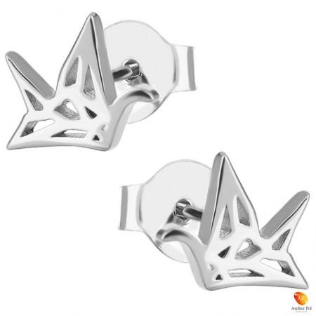 Kolczyki dziecięce żurawie origami wykonane ze srebra 925