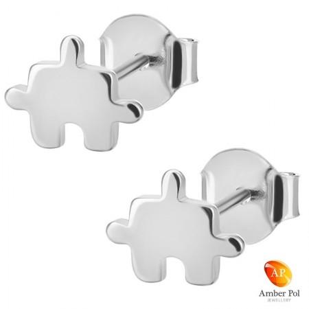 Kolczyki dziecięce puzzle wykonane ze srebra 925