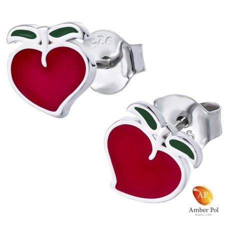 Piękne srebrne 925 kolczyki na sztyft z czerwoną i zieloną emalią o kształcie truskawki.