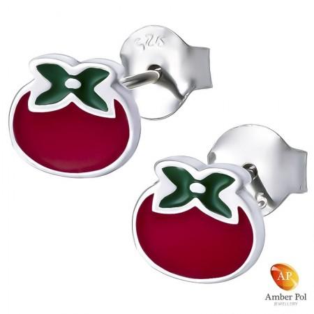 Piękne srebrne 925 kolczyki na sztyft z czerwoną i zieloną emalią o kształcie pomidorków.