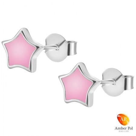 Kolczyki dziecięce sztyft gwiazdki w kolorze różowym wykonane ze srebra 925 oraz emalii