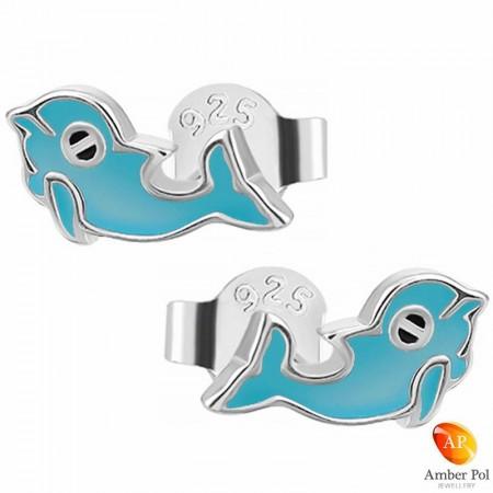 Kolczyki dziecięce delfinki niebieskie sztyft wykonane z emalii oraz srebra 925 Amber Pol