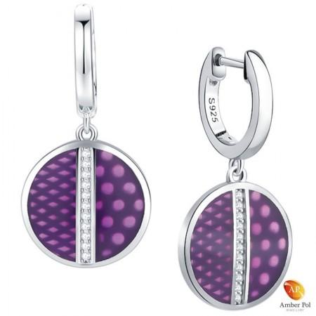 Kolczyki srebrne koła w kolorze fioletowym w różowe kropki wykonane z emalii i srebra 925 oraz cyrkonii