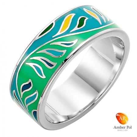 Ręcznie malowany pierścionek ze srebra 925 i emalii w kolorze zielonym, turkusowym i zółtym