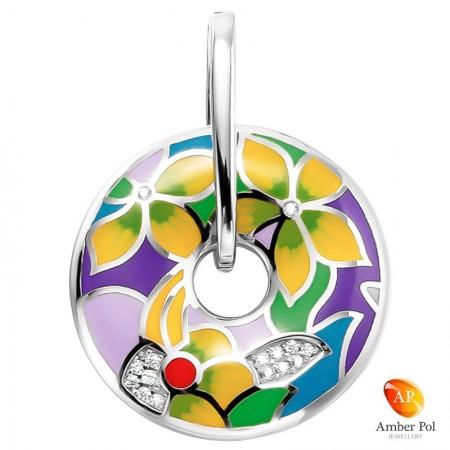 zawieszka srebrna z emalią i cyrkoniami wykonana ze srebra 925 malowana ręcznie w fantazyjne kolorowe kwiaty