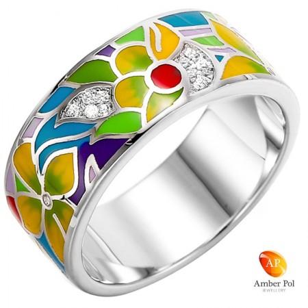 ręcznie malowany pierścionek z emalią i cyrkoniami wykonany ze srebra 925 fantazyjne kwiaty w mocnych kolorach