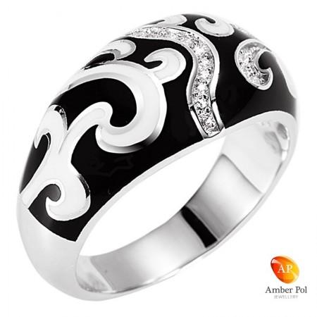 Pierścionek srebrny z emalią i cyrkoniami w kolorze czarnym i białym w fantazyjny wzór. Obrączka