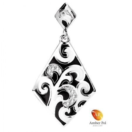 Wisiorek srebrny w kolorze czarnym i białym wykonany ze srebra 925, emalii i cyrkonii