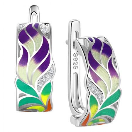 Kolczyki wykonane ze srebra 925 oraz ręcznie malowanej emalii w fantazyjnym kolorowym roślinnym kształcie oraz cyrkonii