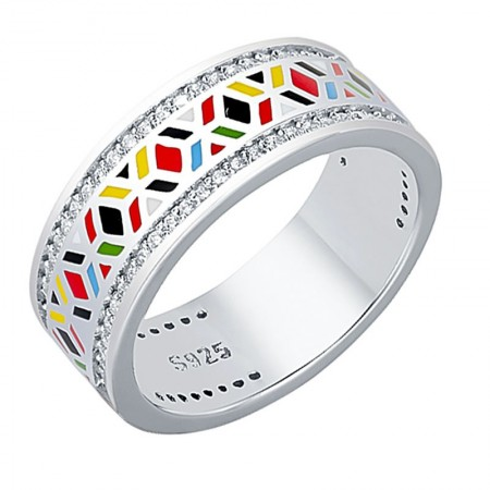 Pierścionek ręcznie malowany w geometryczne wzory wykonany ze srebra 925 emalii oraz cyrkonii