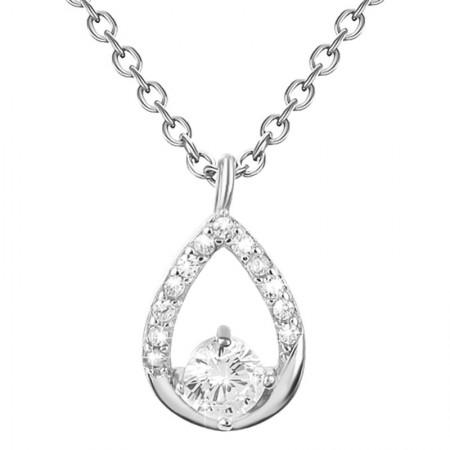 Naszyjnik srebrny z cyrkoniami w kolorze białym wykonany ze srebra próby 925