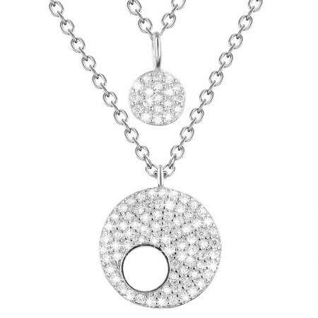 Naszyjnik wykonany ze srebra 925 oraz cyrkonii w kolorze białym na podwójnym łańcuszku z kółkami wysadzanymi cyrkoniami