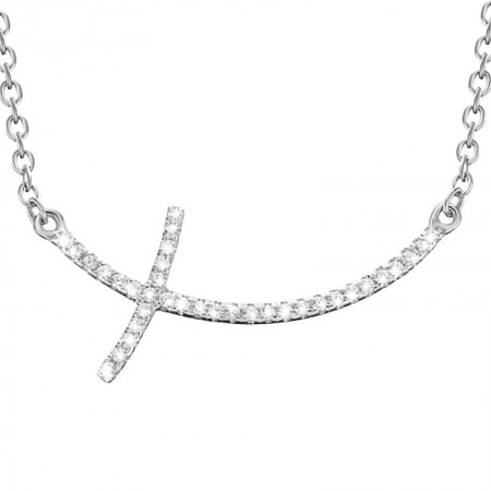 Naszyjnik srebrny krzyżyk z cyrkoniami celebrytka wykonany ze srebra 925