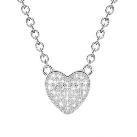 Naszyjnik srebrny celebrytka serduszko wysadzane cyrkoniami wykonany ze srebra 925