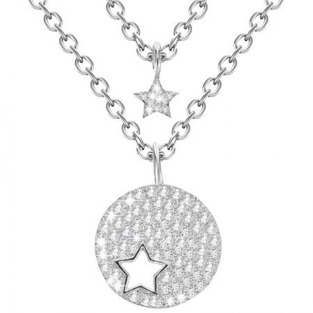 Naszyjnik srebrny z podwójnym łańcuszkiem z gwiazdka i kółkiem z gwiazdką z cyrkoniami