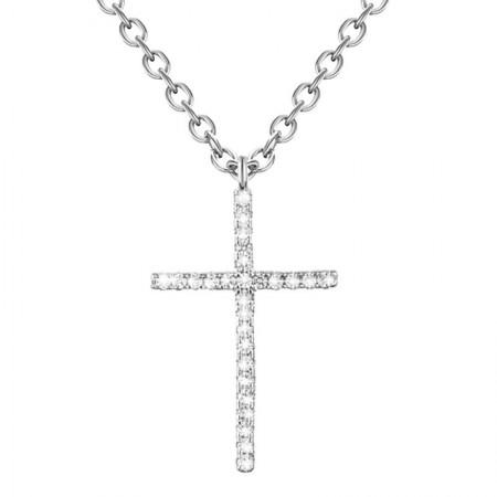 Naszyjnik srebrny krzyżyk wysadzany cyrkoniami