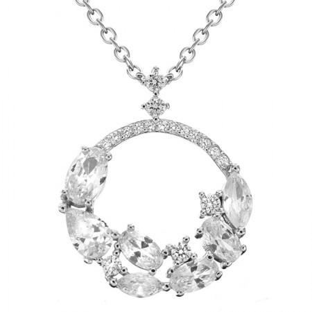 Naszyjnik srebrny elegancki z cyrkoniami wykonany ze srebra 925
