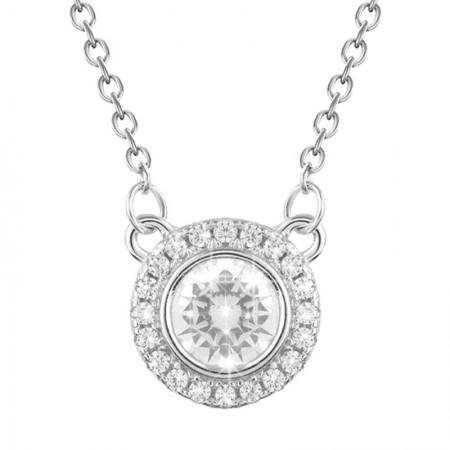 Naszyjnik srebrny z cyrkoniami w kształcie koła elegancki wykonany ze srebra 925