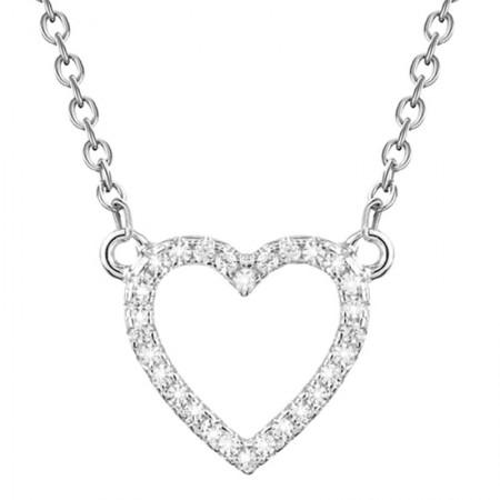 Naszyjnik wykonany ze srebra 925 oraz cyrkonii z zawieszką w kształcie serca