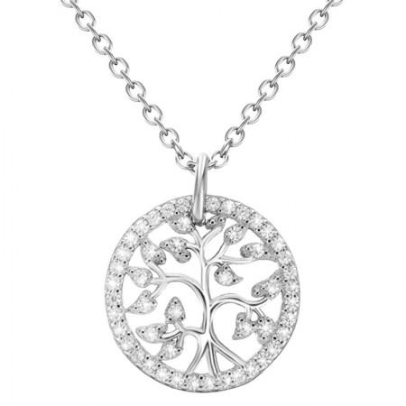 Piękny naszyjnik ze srebra 925 oraz cyrkonii w kształcie drzewka modna celebrytka