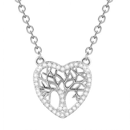 Naszyjnik celebrytka z cyrkoniami wykonany ze srebra 925 w kształcie serca z drzewkiem